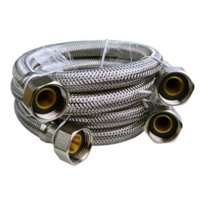"Stainless Steel Flexschlauch Pressure Hose 3/4 "" Armored 2 Pcs Reventon 5161"