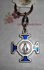 Blue Enamel Cross with Miraculous Medal in center -  Key Chain Blue