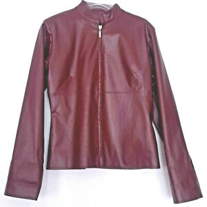 Moderne Damen PVC Jacke 34/36 mit Stehkragen Bordeaux Reißverschluss
