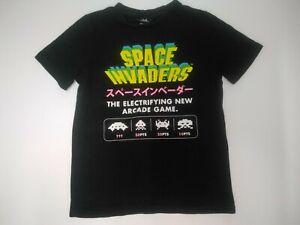 TAITO childrens kids size 10 tshirt Space Invaders game print black shirt child