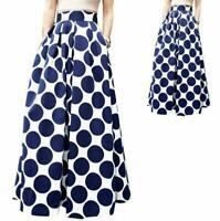 Women Polka Dot Printing High Waist Maxi Skirts Stretch Long Skirt Ball Gown Hot