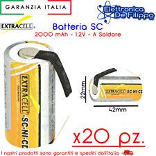 20 pz BATTERIA RICARICABILE NI-CD 1,2V 2000MAH 22X42 PER AVVITATORE