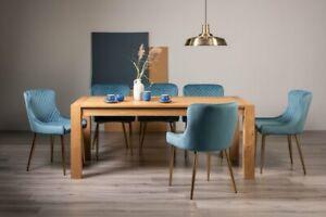 Blake Light Oak 8-10 Seater Dining Table & 8 Cezanne Petrol Blue Velvet Fabric C