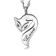 Fox Necklace 14k White Gold Plated Engraved Love Pendant Necklace 18""
