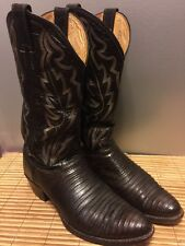 JUSTIN Chocolate Iguana Lizard EXOTIC Cowboy Cowgirl Western BOOTS 8.5 B USA