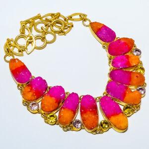"Bi-Color Druzy & Rose Quartz Gold Rhodium Plated Handmade Necklace 17.99"" S2739"