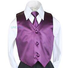 Boy Kids Children Teen 23 colors Satin Vest+ Necktie Long Tie Tuxedo suits 4T-20