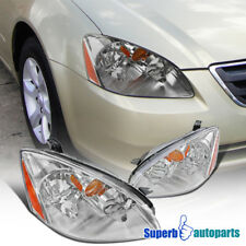 For 2002-2004 Nissan Altima JDM Chrome Clear Headlights w/ Amber Reflector