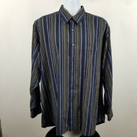 IKE Behar Men's Black Blue Gray Striped L/S Casual Dress Button Shirt Sz XL