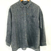 Womens J. Jill Love Linen Gray Button Front Shirt Tunic Size Medium