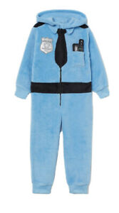 H&M POLICE Fluffy super soft Kids all in one onesuit costume Hooded Brand NEW
