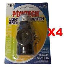LIGHT BULB SOCKET WITH DUAL RECEPTACLE ON/OFF SWITCH 660W, 125VOLTS BLACK 4PK