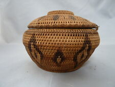 """Native American Weave Covered Bowl Washoe Very Nice Design. 5""""W X 3.5"""" T."""