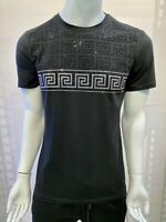 New Mens Short Sleeve Very Slim Fit T-Shirt Black Silver Greek Rhinestone Cotton