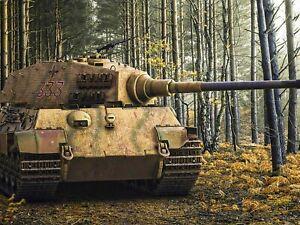 Vintage Tiger II German Heavy Tank World War II Print Poster Wall Art Picture A4