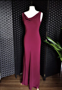 Gorgeous Red/Burgundy Cowl Bias Evening Dress Vintage 1930s Ghost Style UK10