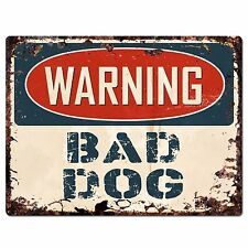 PP1036 WARNING BAD DOG Plate Rustic Chic Sign Home Store Decor Gift