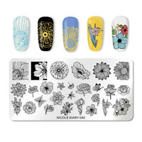 NICOLE DIARY Nail Stamping Plates Butterfly Rectangle Nail Stamp Template 082