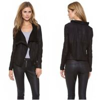 "Muubaa Women's Black Suede Leather ""Sinoia"" Draped Moto Jacket 6"