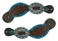 Showman Leather Spur Straps w/ TEAL Hand Painted Feather Design! NEW HORSE TACK!