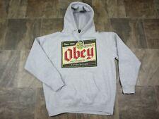 NWOT OBEY Long Sleeve Beer Logo Surfer Mens Street Hoodie Sweatshirt Size L