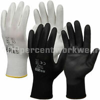 12 x Pairs RHINOtec PU Palm Coated Grip Work Safety Gloves Assembly Engineering