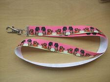 Handmade Dachshund Dog Lanyard Whistle Walking Training Puppy Key Pink Long Coat