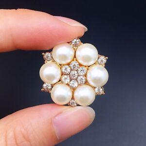 10pc Mini Gold Alloy Crystal Broohes Flat Back No Pin DIY Wedding Bouquet 2.3cm