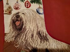 Puli Dog With Xmas Ornaments Needlepoint Holiday Stocking Home Decor Nwt 16 1/2""