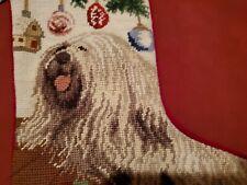 "Puli Dog Christmas Needlepoint Holiday Stocking Home Decor New With Tags 16 1/2"""