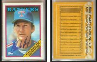 Charlie Hough Signed 1988 Topps #680 Card Texas Rangers Auto Autograph
