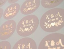 Foil wedding stickers for envelopes and favours  Personalised labels  D7 Blush