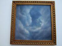 CONTEMPORARY SURREALISM PAINTING FIGURE IN CLOUDS SPACE ABSTRACT EXPRESSIONISM