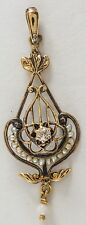 Victorian 10k Solid Gold Seed Pearls and Diamond Pendant