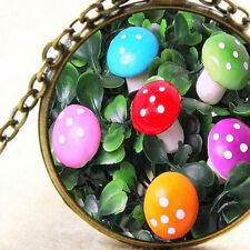 New Mini Fairy Mushrooms Pendant Bronze Necklace Red, Pink, Orange, Blue, Purple