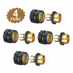 3/4' Garden Hose Quick Connect Brass Anodized Aluminum Female Male  Set (4 Pack)