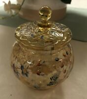 Beautiful Mold Blown Enameled Quilted/Diamond Pattern Yellow Glass Condiment Jar