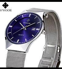 Regalo para impresionar a de Lujo para Hombre Reloj Ultra Delgado Ultra Fino Esfera Azul/Correa de malla