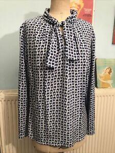 Madeleine Blue Geometric Pattern Long Sleeve Silk Blouse Size 16 Tie Front
