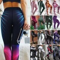 Women High Waist Yoga Pants Sports Leggings Push Up Compression Fitness Trousers