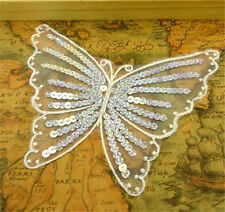 White Butterfly Sequin Lace Patch Embroidery Cloth Collar Dress Patch ☆