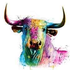 """Rainbow Bull wall art colorful printed on canvas 22"""" x  22"""" solid frame"""
