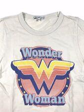 Junk Food Women M Off-White Beige Wonder Woman DC Comics Distressed Slim T-Shirt