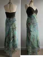 LAUNDRY BY SHELLI SEGAL Green Silk Sun Dress Crochet Bodice Size 12 BNWT