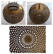 Lampada grande diametro cm 26 metallo giallo artigianato Africa Marocco