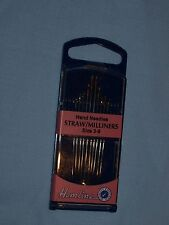 Hemline Hand Sewing Needles - Straw/Milliners - Sizes 3-9 10 pack in Handy Case