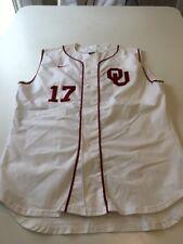 Game Worn Used Oklahoma Sooners OU Nike Baseball Jersey Size 50 #17 Pinzino