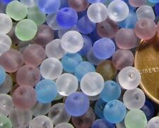 "100 Beads Tiny Frosted Glass (about 4mm)- Random Mix- Frosty ""sea glass"" look"