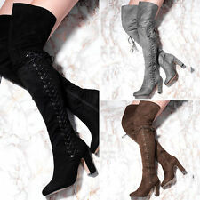 Women's Faux Suede Lace Up Block Knee High Boots Shoes