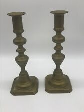 Beautiful 19th Century Brass Beehive Push Up Candlesticks Matching Pair Vintage